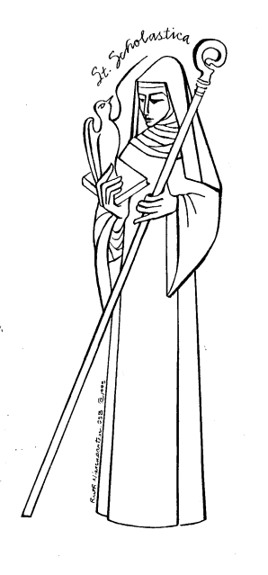 St. Scholastica line drawing by Sister Ruth Nierengarten