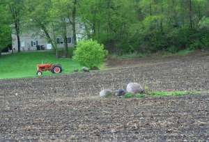 tractor and fieldstone