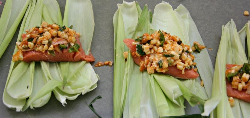 Grilled Salmon In Corn Husks Recipe — Dishmaps