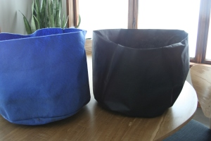 blue felt bag on the left, my bag on the right!