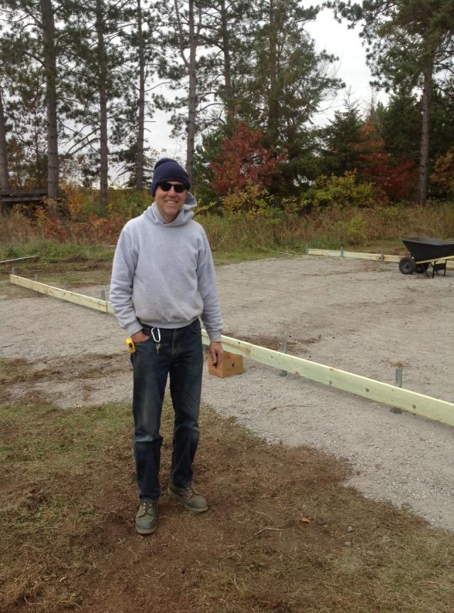 Steve at greenhouse frame