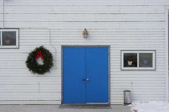 blue church door nd