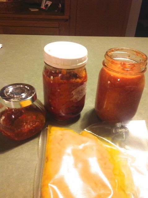 storage ingredients: frozen squash, canned cherry tomatoes, roasted peppers, red pepper hot sauce