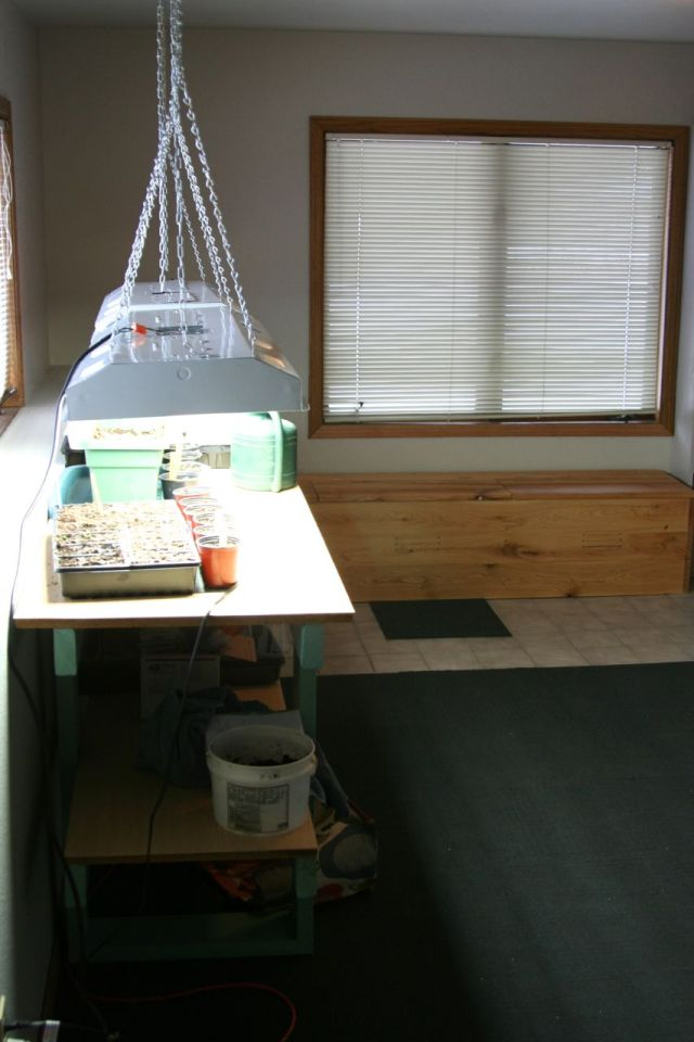potting bench and storage lighted