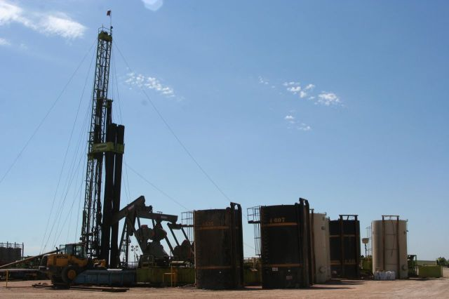 A platform with active drilling.